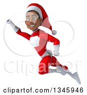 Clipart Of A 3d Young Black Male Christmas Super Hero Santa Flying Royalty Free Illustration by Julos