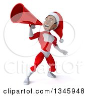 Clipart Of A 3d Young Black Male Christmas Super Hero Santa Announcing With A Megaphone Royalty Free Illustration
