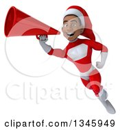 Clipart Of A 3d Young Black Male Christmas Super Hero Santa Flying And Announcing With A Megaphone Royalty Free Illustration