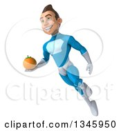 Clipart Of A 3d Young White Male Super Hero In A Light Blue Suit Holding A Navel Orange And Flying Royalty Free Illustration by Julos