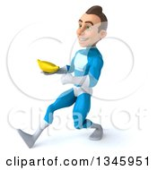 Clipart Of A 3d Young White Male Super Hero In A Light Blue Suit Holding A Banana And Speed Walking To The Left Royalty Free Illustration by Julos