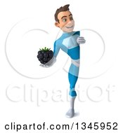 Clipart Of A 3d Full Length Young White Male Super Hero In A Light Blue Suit Holding A Blackberry And Looking Around A Sign Royalty Free Illustration by Julos