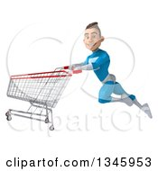 Clipart Of A 3d Young White Male Super Hero In A Light Blue Suit Flying With A Shopping Cart Royalty Free Illustration by Julos