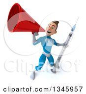 Clipart Of A 3d Young White Male Super Hero In A Light Blue Suit Holding A Vaccine Syringe And Announcing With A Megaphone Royalty Free Illustration
