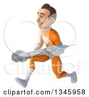 Clipart Of A 3d Young Brunette White Male Super Hero In An Orange Suit Holding A Vaccine Syringe And Sprinting To The Left Royalty Free Illustration