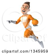 Clipart Of A 3d Young Brunette White Male Super Hero In An Orange Suit Holding A Navel Orange Pointing And Flying Royalty Free Illustration