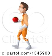 Clipart Of A 3d Young Brunette White Male Super Hero In An Orange Suit Holding A Tomato And Walking To The Left Royalty Free Illustration
