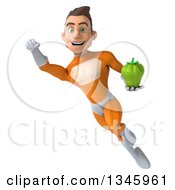 Clipart Of A 3d Young Brunette White Male Super Hero In An Orange Suit Holding A Green Bell Pepper And Flying Royalty Free Illustration