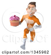 Clipart Of A 3d Young Brunette White Male Super Hero In An Orange Suit Holding A Cupcake And Sprinting Royalty Free Illustration