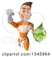 Clipart Of A 3d Young Brunette White Male Super Hero In An Orange Suit Holding A Green Tincture Drop And Flying Royalty Free Illustration
