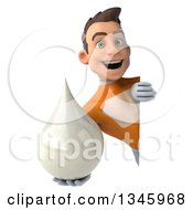 Clipart Of A 3d Young Brunette White Male Super Hero In An Orange Suit Holding A Lotion Milk Or Soap Drop And Looking Around A Sign Royalty Free Illustration