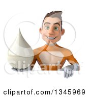 Clipart Of A 3d Young Brunette White Male Super Hero In An Orange Suit Holding A Lotion Milk Or Soap Drop Over A Sign Royalty Free Illustration