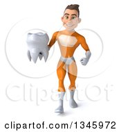 Clipart Of A 3d Young Brunette White Male Super Hero In An Orange Suit Holding A Tooth And Walking Royalty Free Illustration