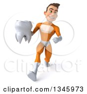 Clipart Of A 3d Young Brunette White Male Super Hero In An Orange Suit Holding A Tooth And Speed Walking Royalty Free Illustration