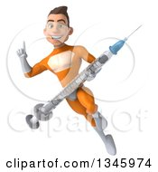 Clipart Of A 3d Young Brunette White Male Super Hero In An Orange Suit Holding Up A Finger And Flying With A Vaccine Syringe Royalty Free Illustration