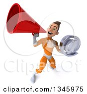 Clipart Of A 3d Young Brunette White Male Super Hero In An Orange Suit Holding An Email Arobase At Symbol And Announcing Upwards With A Megaphone Royalty Free Illustration