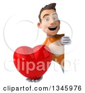 Clipart Of A 3d Young Brunette White Male Super Hero In An Orange Suit Holding A Heart Around A Sign Royalty Free Illustration