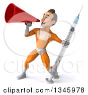 Clipart Of A 3d Young Brunette White Male Super Hero In An Orange Suit Holding A Vaccine Syringe And Announcing With A Megaphone Royalty Free Illustration