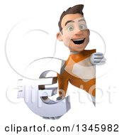 Clipart Of A 3d Young Brunette White Male Super Hero In An Orange Suit Holding A Euro Currency Symbol Around A Sign Royalty Free Illustration by Julos