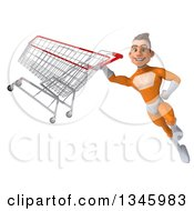 Clipart Of A 3d Young Brunette White Male Super Hero In An Orange Suit Flying With A Shopping Cart Royalty Free Illustration by Julos