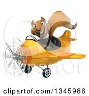 Clipart Of A 3d Business Squirrel Aviator Pilot Flying A Yellow Airplane Slightly To The Left Royalty Free Illustration