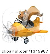Clipart Of A 3d Business Squirrel Aviator Pilot Giving A Thumb Up And Flying A Yellow Airplane Slightly To The Left Royalty Free Illustration