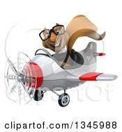 Clipart Of A 3d Bespectacled Business Squirrel Aviator Pilot Flying A White And Red Airplane Slightly To The Left Royalty Free Illustration
