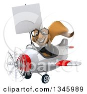 Clipart Of A 3d Bespectacled Business Squirrel Aviator Pilot Holding A Blank Sign And Flying A White And Red Airplane Slightly To The Left Royalty Free Illustration