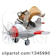 Clipart Of A 3d Bespectacled Business Squirrel Aviator Pilot Giving A Thumb Up And Flying A White And Red Airplane Slightly To The Left Royalty Free Illustration