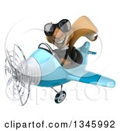 Clipart Of A 3d Business Squirrel Aviator Pilot Wearing Sunglasses And Flying A Blue Airplane Slightly To The Left Royalty Free Illustration