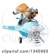 Clipart Of A 3d Business Squirrel Aviator Pilot Wearing Sunglasses And Flying A Blue Airplane Slightly To The Right Royalty Free Illustration