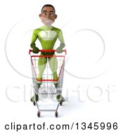 Clipart Of A 3d Young Black Male Super Hero In A Green Suit Standing With A Shopping Cart Royalty Free Illustration by Julos