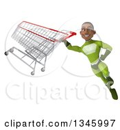 Clipart Of A 3d Young Black Male Super Hero In A Green Suit Flying With A Shopping Cart Royalty Free Illustration by Julos
