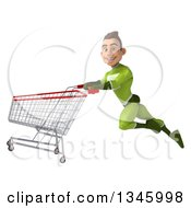 Clipart Of A 3d Young White Male Super Hero In A Green Suit Flying To The Left With A Shopping Cart Royalty Free Illustration by Julos