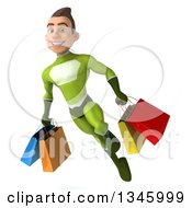 Clipart Of A 3d Young White Male Super Hero In A Green Suit Holding Shopping Bags And Flying Royalty Free Illustration by Julos