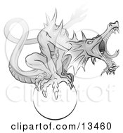 Aggressive Roaring Grey Dragon Perching On A White Orb Clipart Illustration
