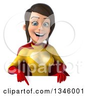 Clipart Of A 3d Brunette White Female Super Hero In A Yellow And Red Suit Pointing Down Over A Sign Royalty Free Illustration