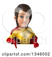 Clipart Of A 3d Brunette White Female Super Hero In A Yellow And Red Suit Giving A Thumb Down Over A Sign Royalty Free Illustration