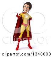Clipart Of A 3d Brunette White Female Super Hero In A Yellow And Red Suit Giving A Thumb Up Royalty Free Illustration