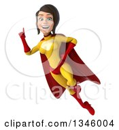 Clipart Of A 3d Brunette White Female Super Hero In A Yellow And Red Suit Flying And Holding Up A Finger Royalty Free Illustration