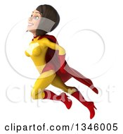 Clipart Of A 3d Flying Brunette White Female Super Hero In A Yellow And Red Suit Royalty Free Illustration