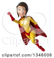 Clipart Of A 3d Flying Brunette White Female Super Hero In A Yellow And Red Suit Royalty Free Illustration by Julos