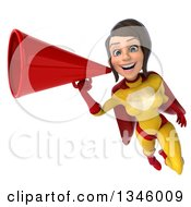 Clipart Of A 3d Brunette White Female Super Hero In A Yellow And Red Suit Flying With A Megaphone Royalty Free Illustration