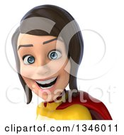 Clipart Of A 3d Avatar Of A Brunette White Female Super Hero In A Yellow And Red Suit Royalty Free Illustration