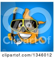 Clipart Of A Cartoon Snorkeling Goldfish Over Blue Royalty Free Illustration