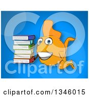 Cartoon Yellow Fish Holding A Stack Of Books Over Blue