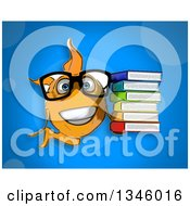 Cartoon Bespectacled Yellow Fish Holding A Stack Of Books Over Blue