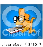 Cartoon Bespectacled Yellow Fish Reading A Book Over Blue