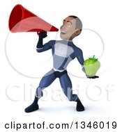 Clipart Of A 3d Young Black Male Super Hero Dark Blue Suit Holding A Green Bell Pepper And Announcing To The Left With A Megaphone Royalty Free Illustration