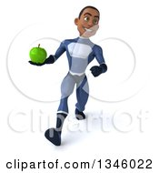 Clipart Of A 3d Young Black Male Super Hero Dark Blue Suit Holding A Green Apple And Speed Walking Royalty Free Illustration